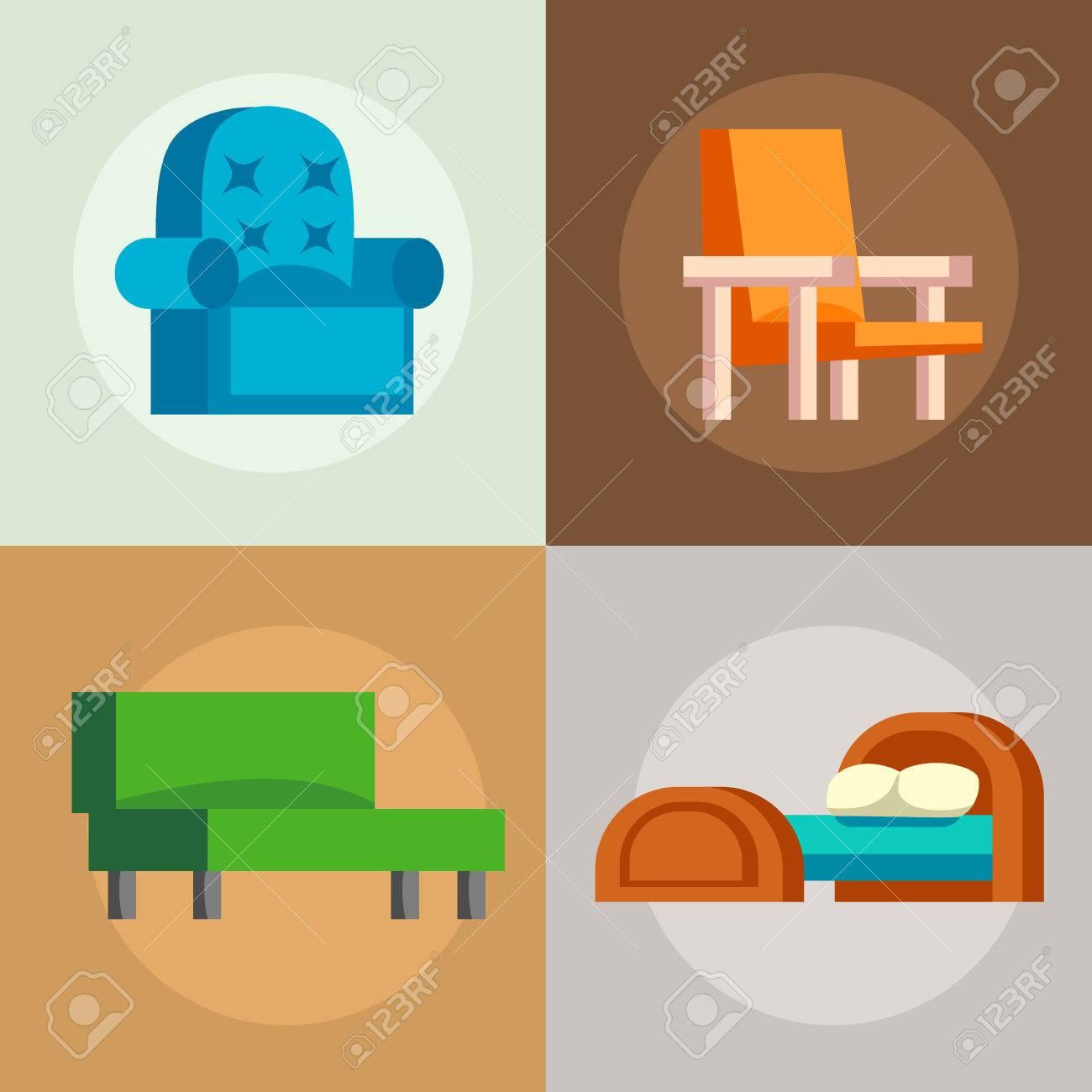 Sofa Isoliert Vektor-Illustration Isoliert Möbel Interieur Leben ...