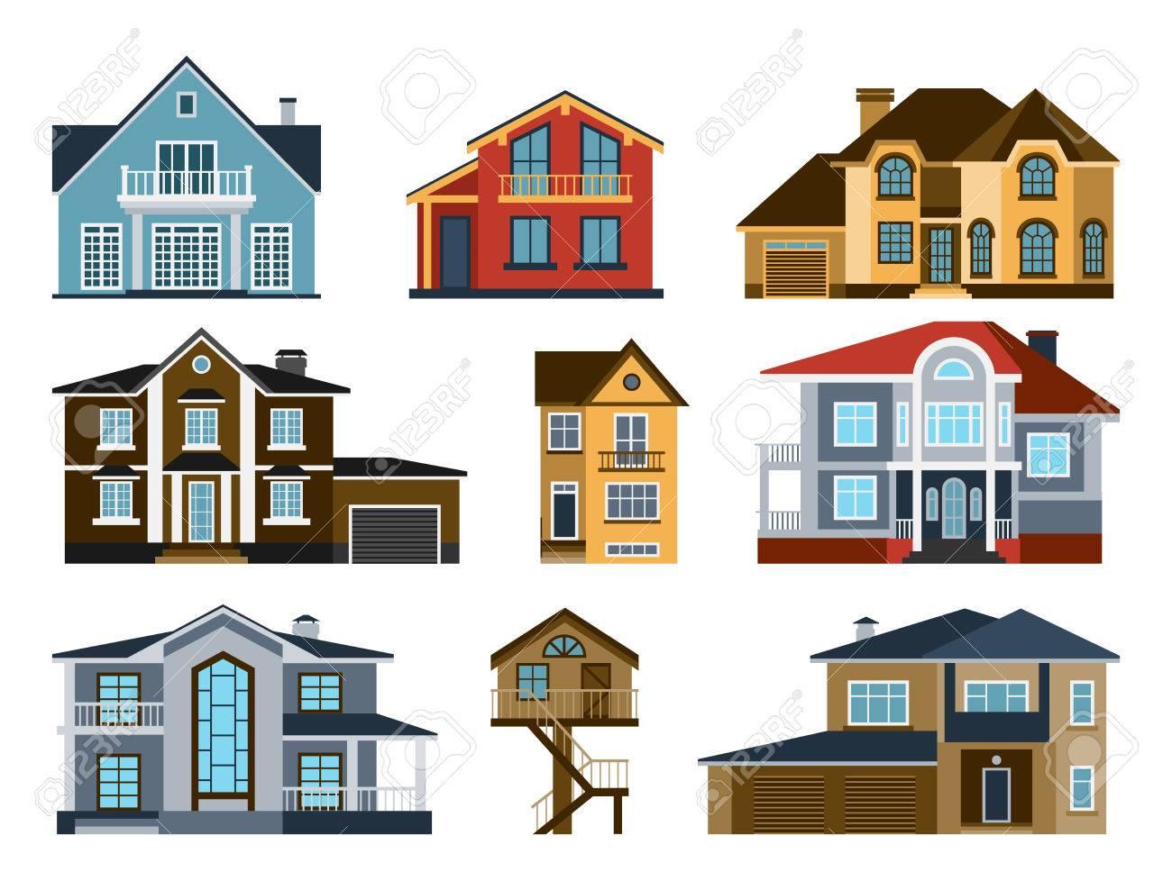 Häuser Vorderansicht Vektor-Illustration. Häuser Flach Stil Moderne ...