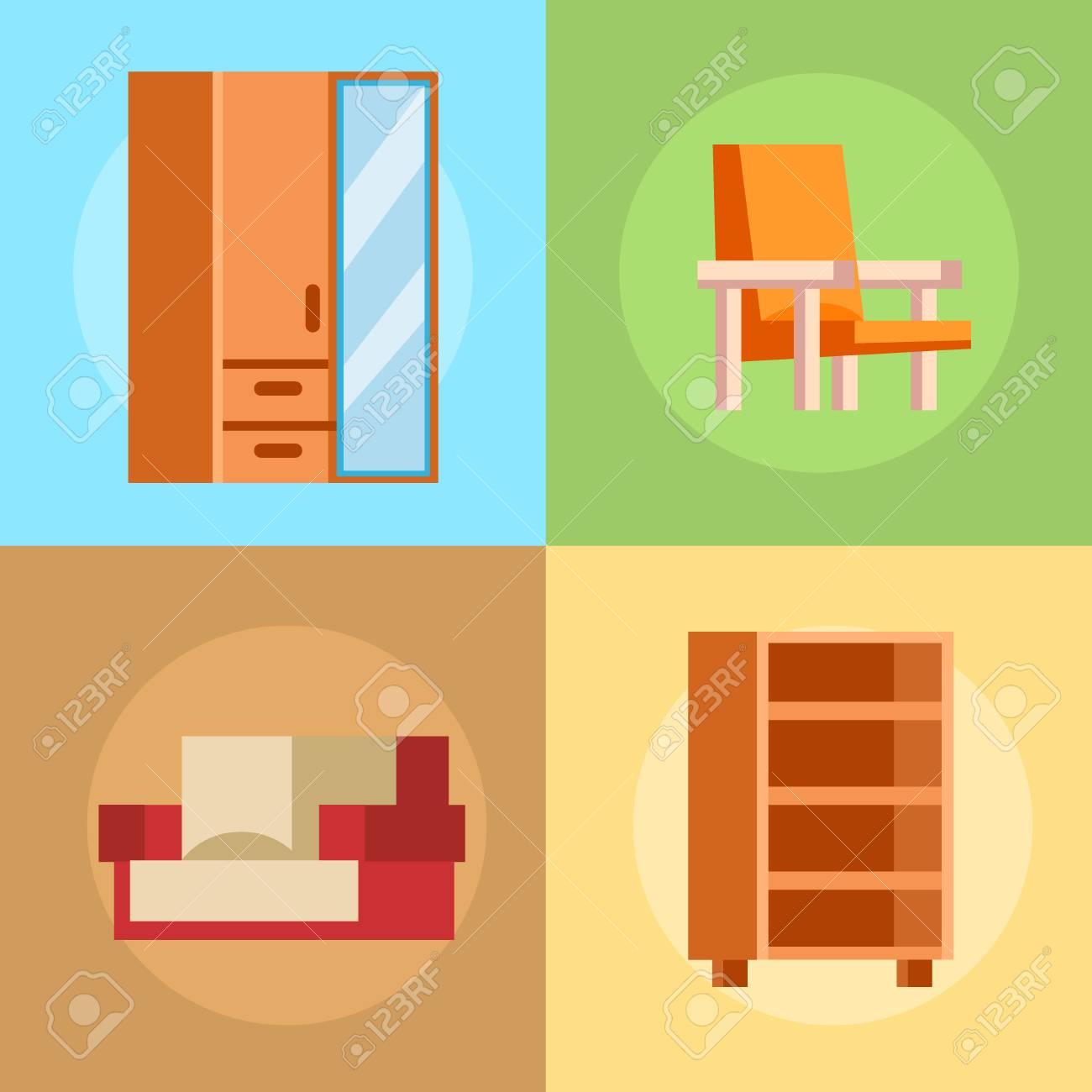 Möbel-Symbole Vektor-Illustration Isoliert Innen Lebt Schrank ...