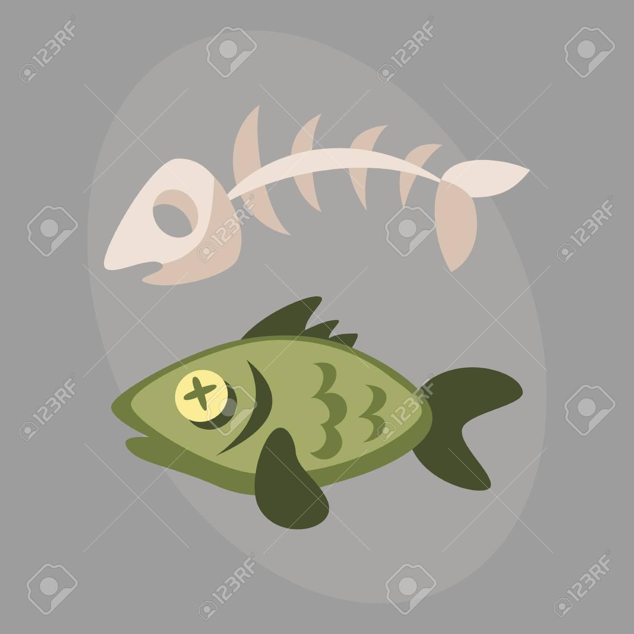 Basura De Hueso De Pescado Para El Reciclaje Gráfico De Dibujos