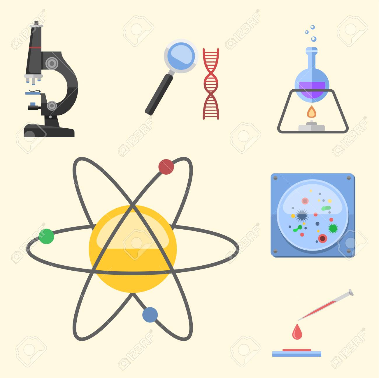 Lab symbols test medical laboratory scientific biology design lab symbols test medical laboratory scientific biology design molecule microscope concept and biotechnology science chemistry icons ccuart Images