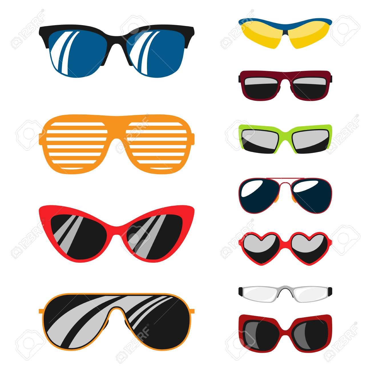 2c17b4f43c72 Fashion set sunglasses accessory sun spectacles plastic frame modern eyeglasses  vector illustration. Stock Vector -