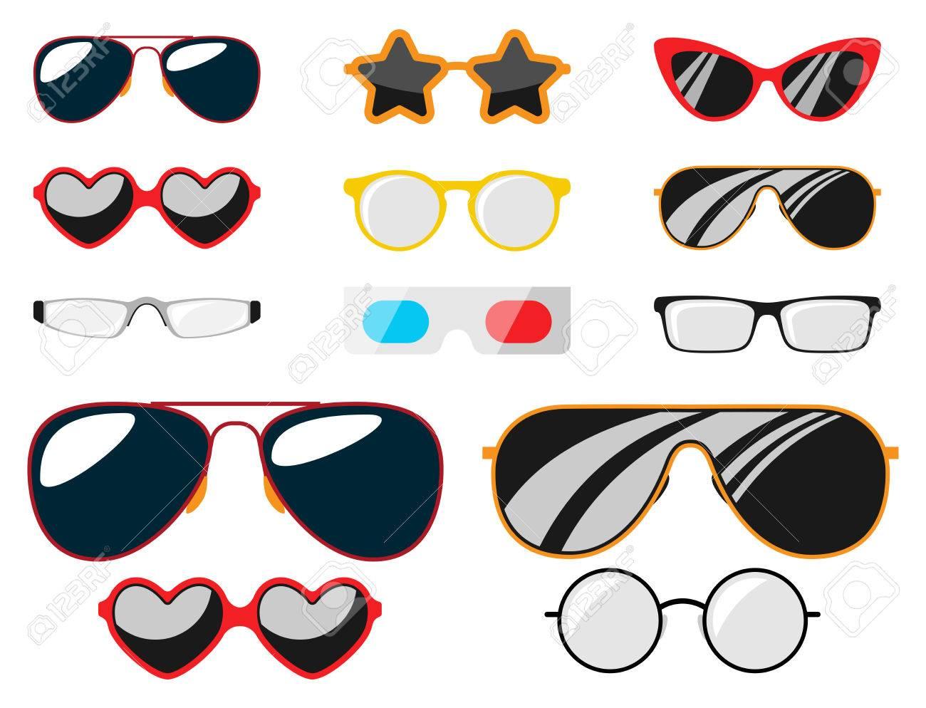Fashion Set Sonnenbrille Design Retro Zubehör Sonne Optische Ansicht ...