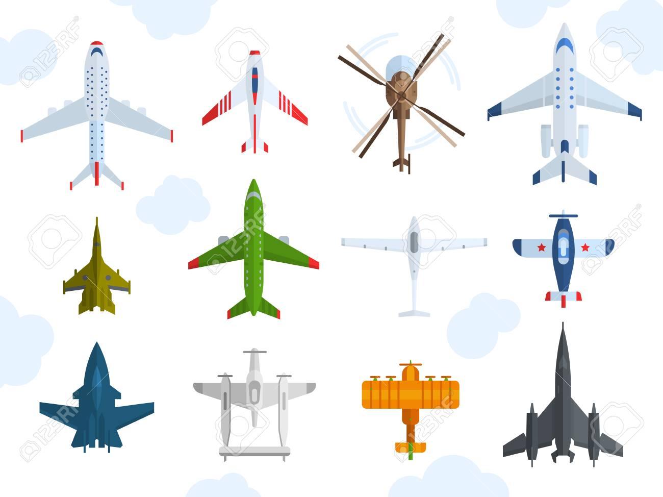 Color De Los Aviones, Iconos De Helicópteros Vista Superior ...