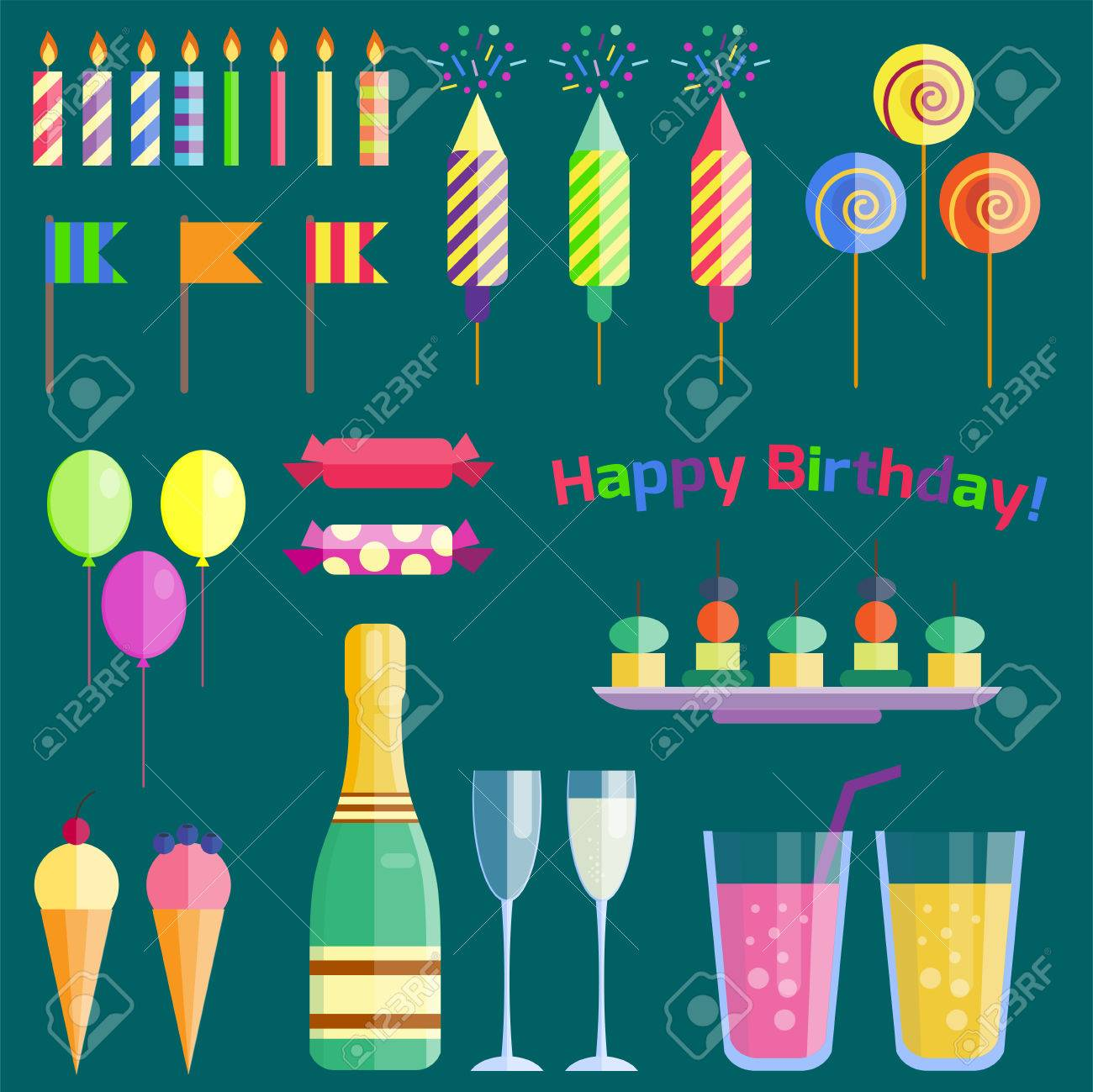 Party Icons Celebration Happy Birthday Surprise Decoration Cocktail Royalty Free Cliparts Vectors And Stock Illustration Image 76555410