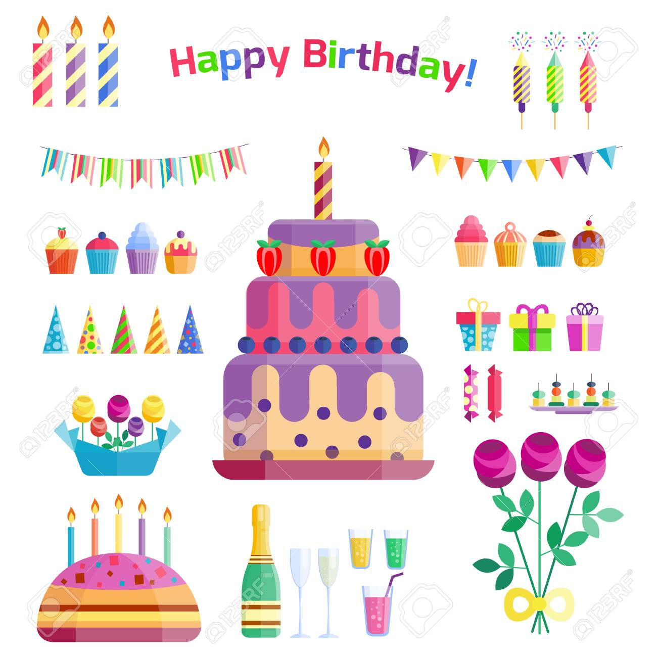Party Icons Celebration Happy Birthday Surprise Decoration Cocktail Royalty Free Cliparts Vectors And Stock Illustration Image 76685787