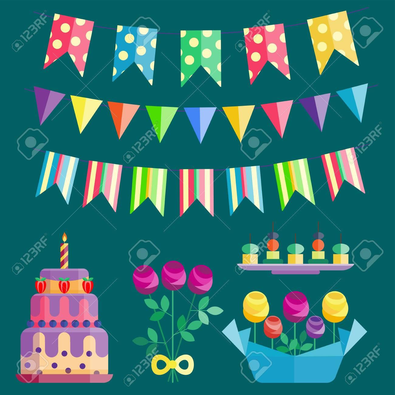 Party Iconen Viering Gelukkige Verjaardag Verrassing Decoratie