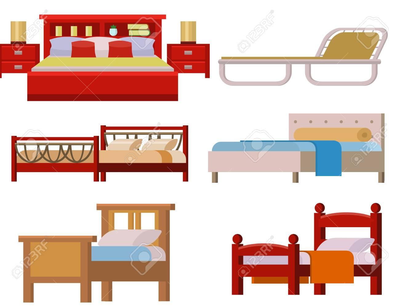 Vektor Bett Icon Set Innenhaus Rest Sammlung Sammlung Schlafmobel