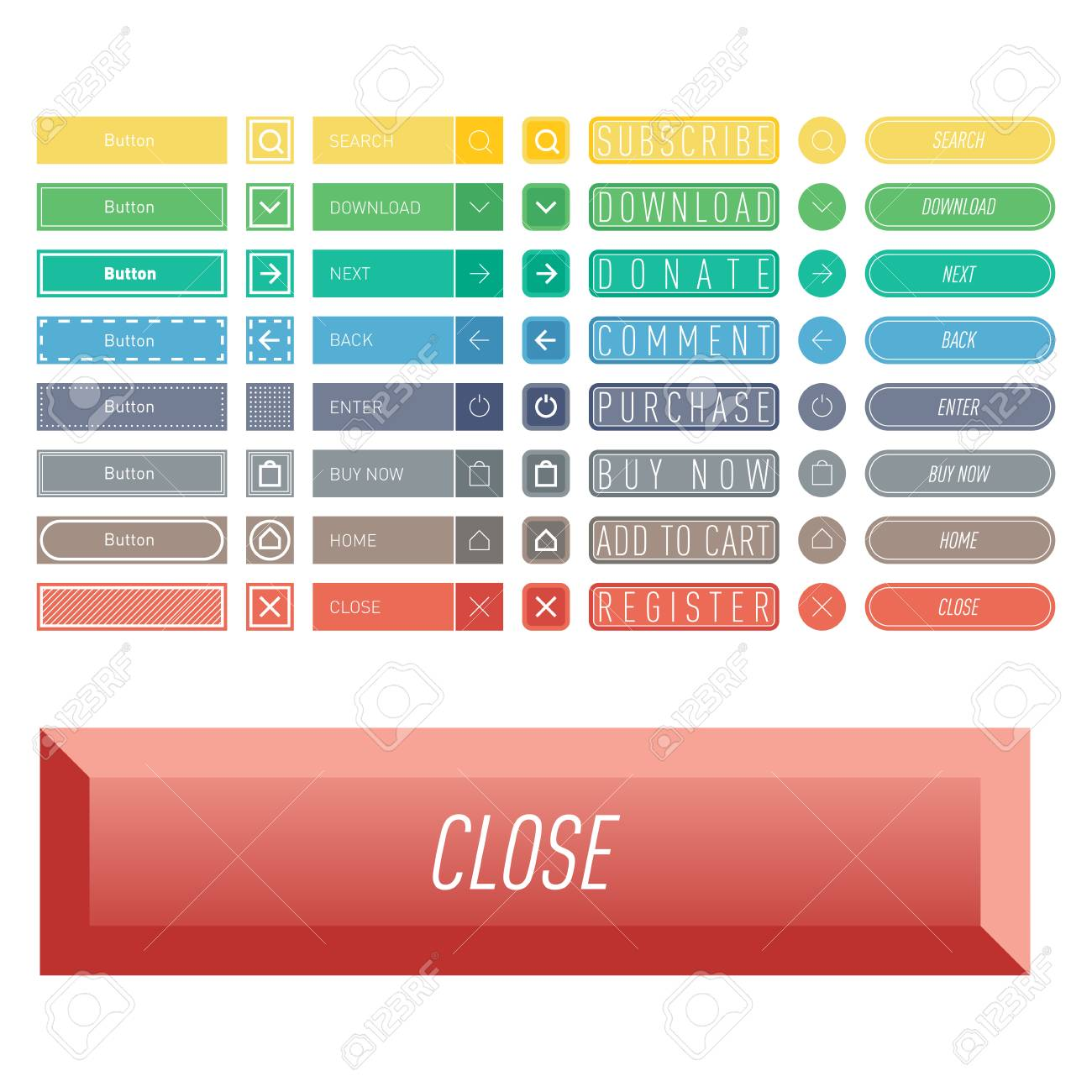 Colorful website web buttons design vector illustration glossy