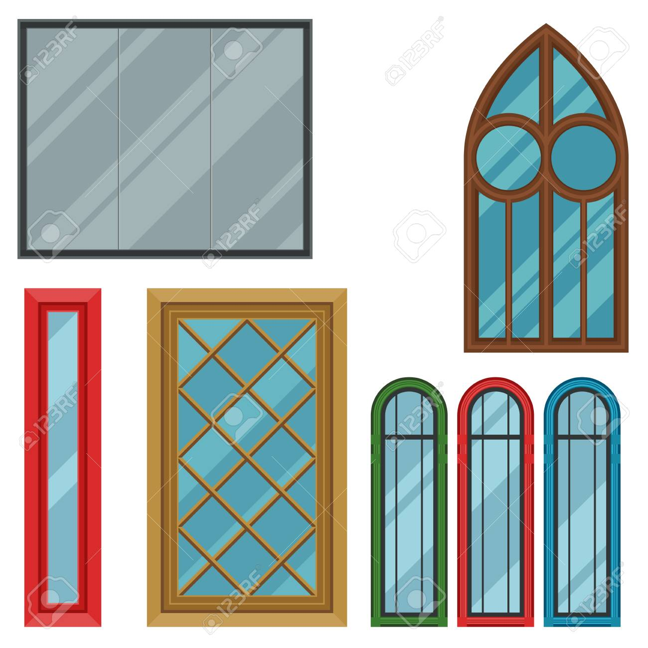 house windows types different types house windows elements flat style frames construction decoration apartment vector illustration stock vector types house windows elements flat style frames