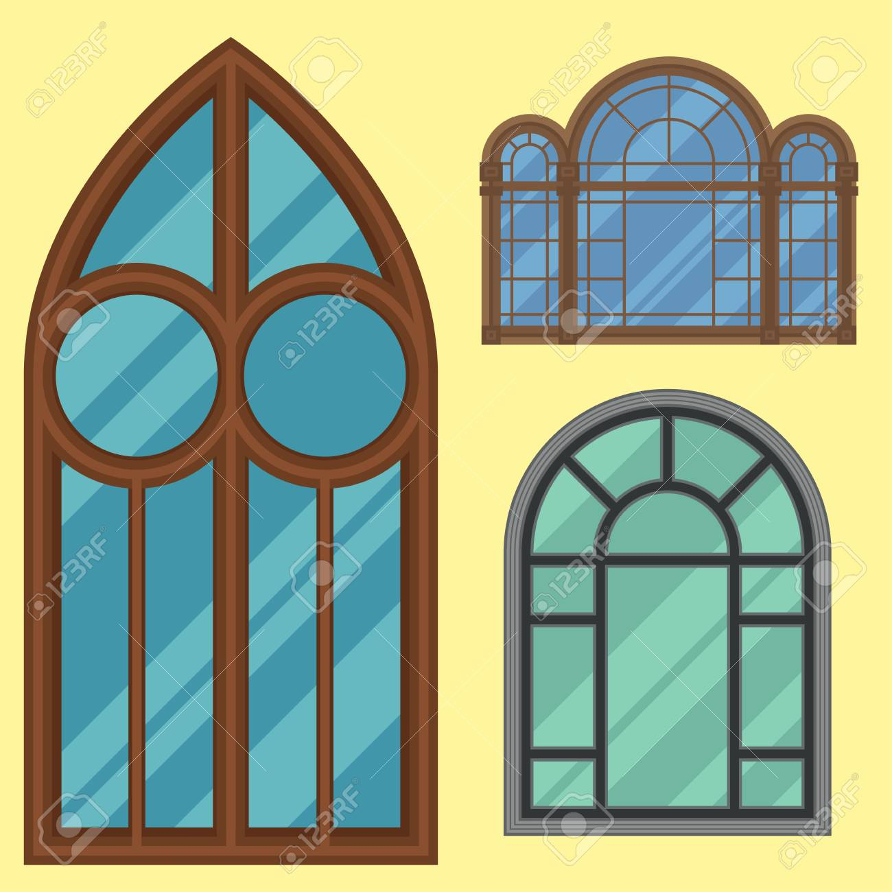 Different Types House Windows Elements Flat Style Frames ...