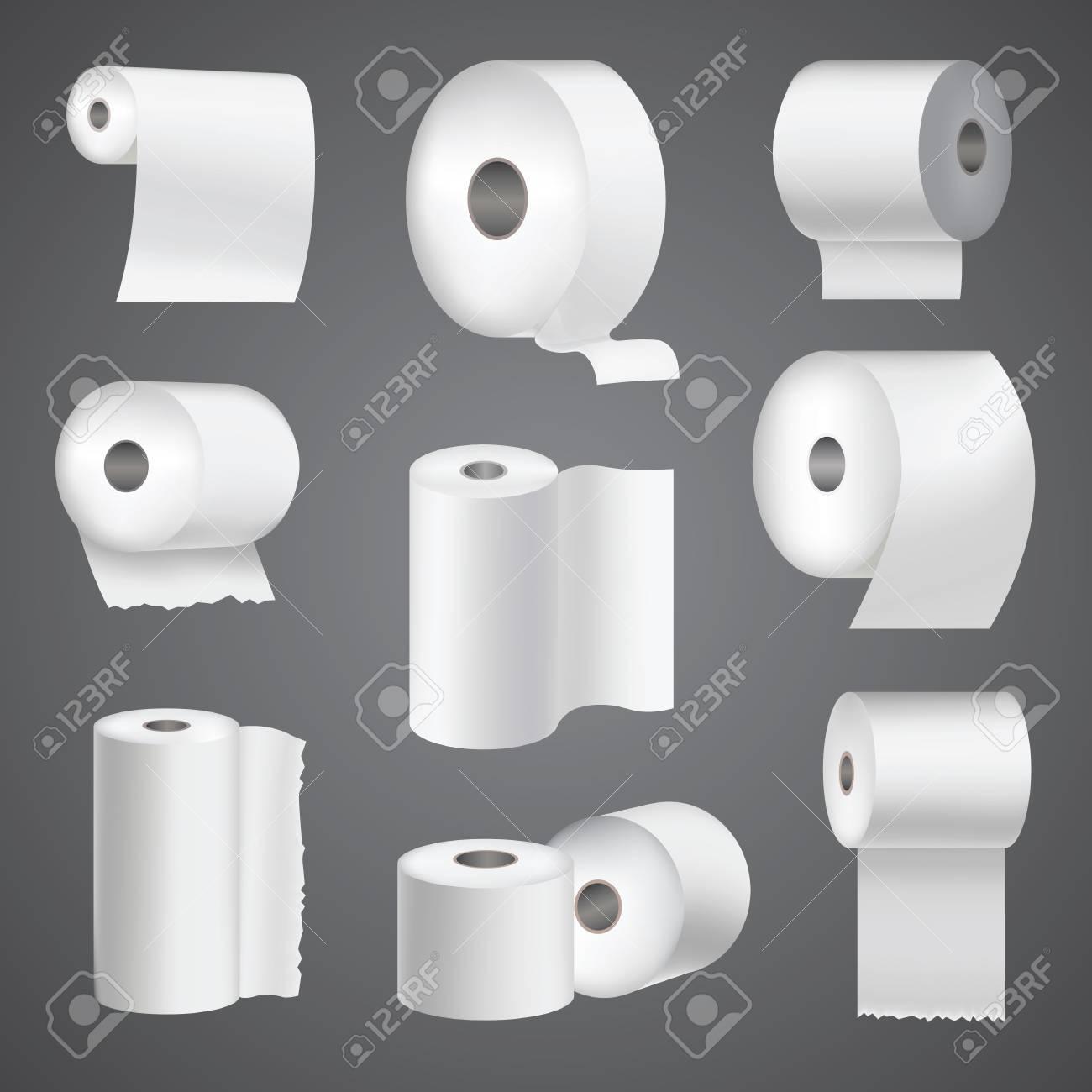 Rouleau de papier de toilette réaliste maquillage ensemble illustration  vectorielle isolée blanc vierge 3d emballage modèle de serviette de cuisine