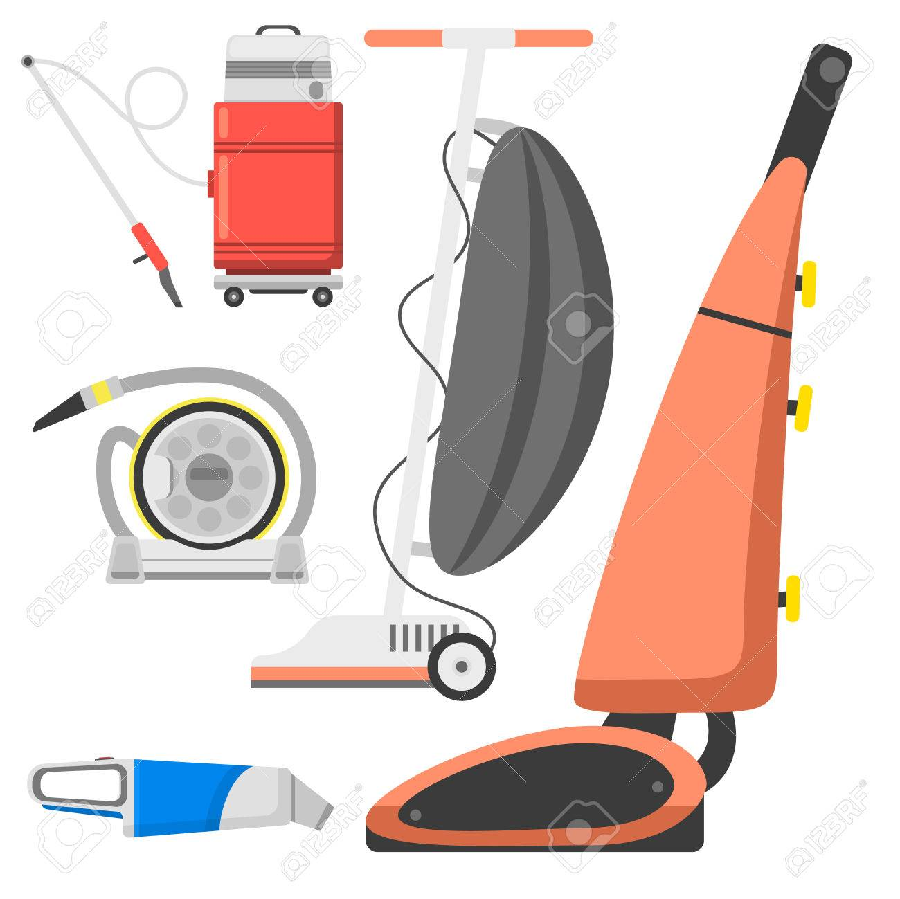 Professional Cleaning Equipment Isolated Vector Home Cleanup Vacuum  Housekeeping Service Cleaning Equipment Housework Tools. Standard