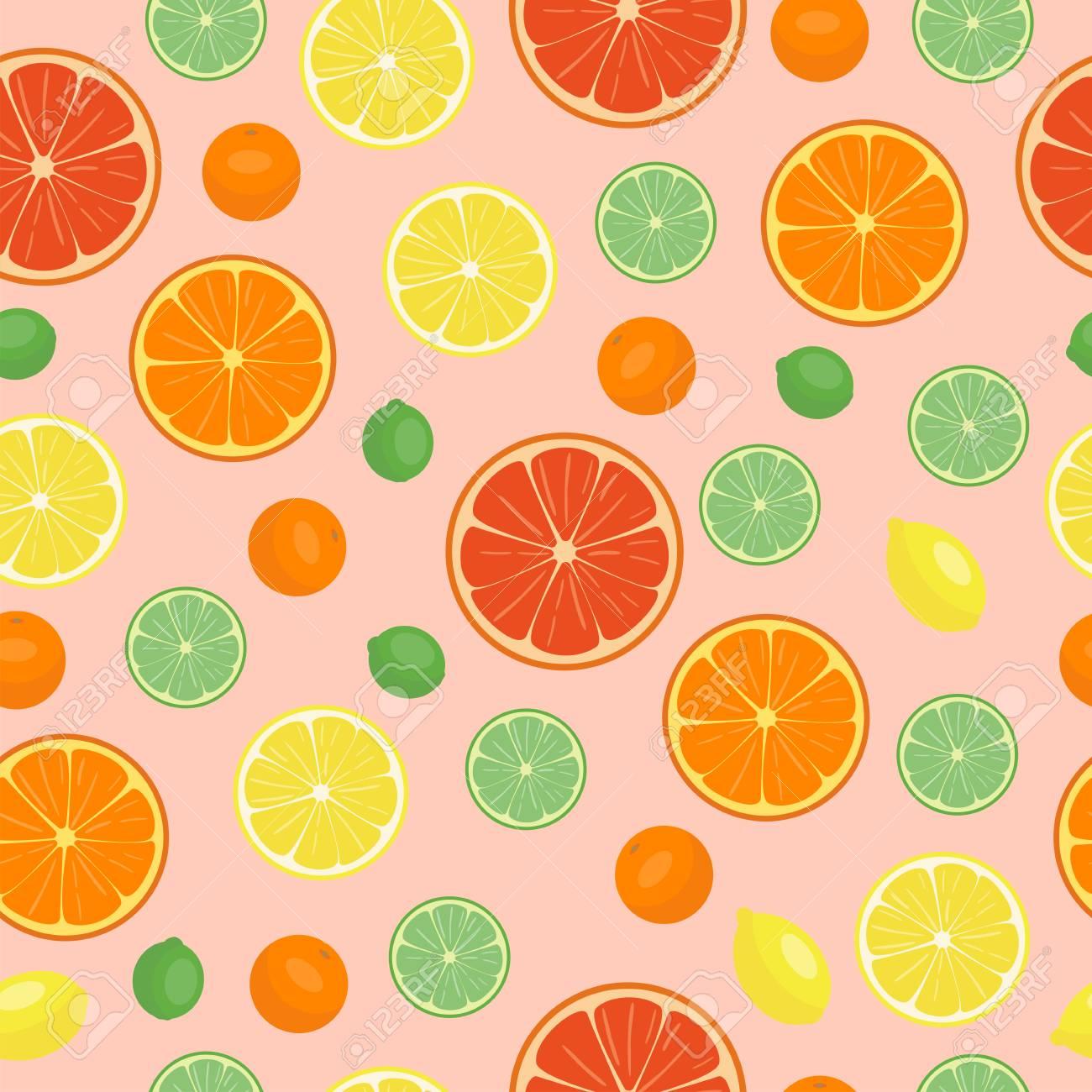 熟したオレンジ製品果物シームレス パターン柑橘類はスライス甘い食べ物