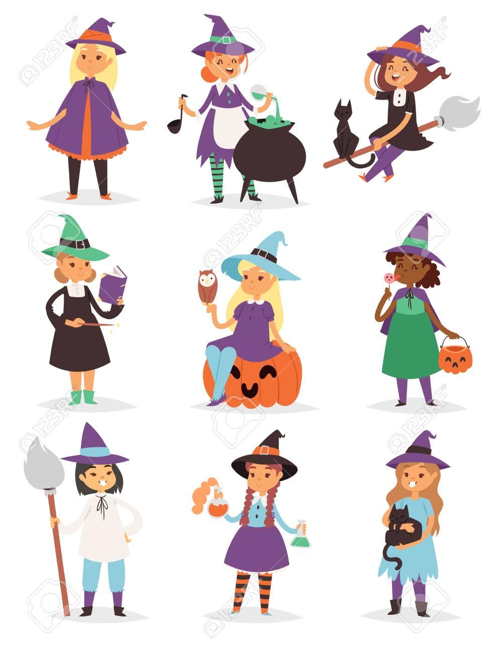 かわいい小さなハロウィン魔女少女 harridan ほうき漫画魔法若いキャラ衣装帽子ベクトル イラスト。