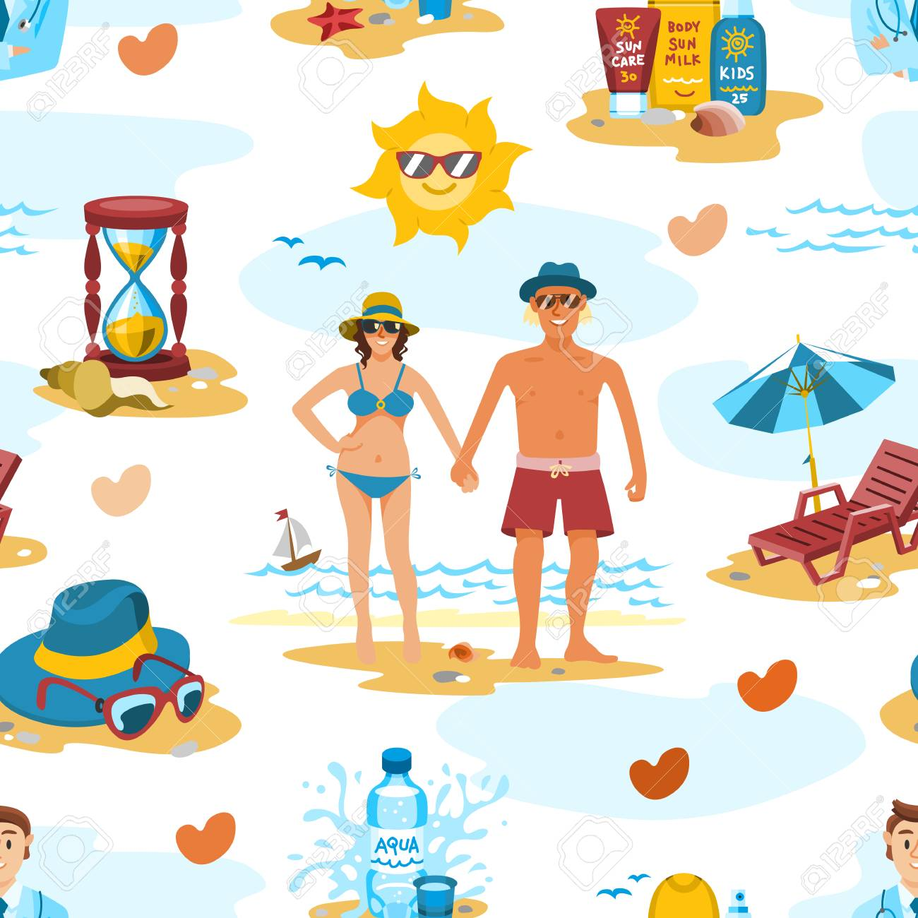 Family Couple On The Beach Vector Characters People Romance Lovers Holiday Vacation Travel Time Seamless Pattern