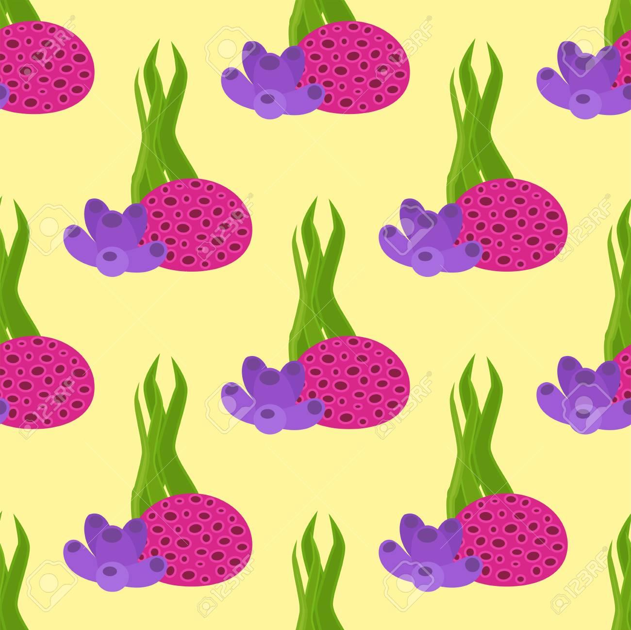 海藻植物のシームレスなパターン背景ベクトル イラストのイラスト素材