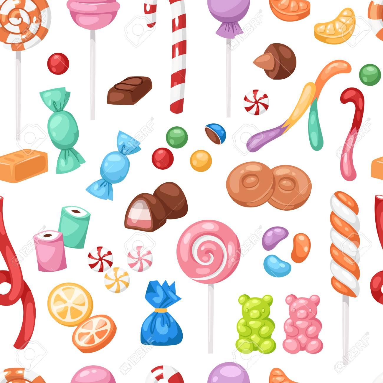 Bonbons Sucrés De Bonbon De Dessin Animé Bonbons Enfants Nourriture Bonbons Méga Collection De Fond Transparente