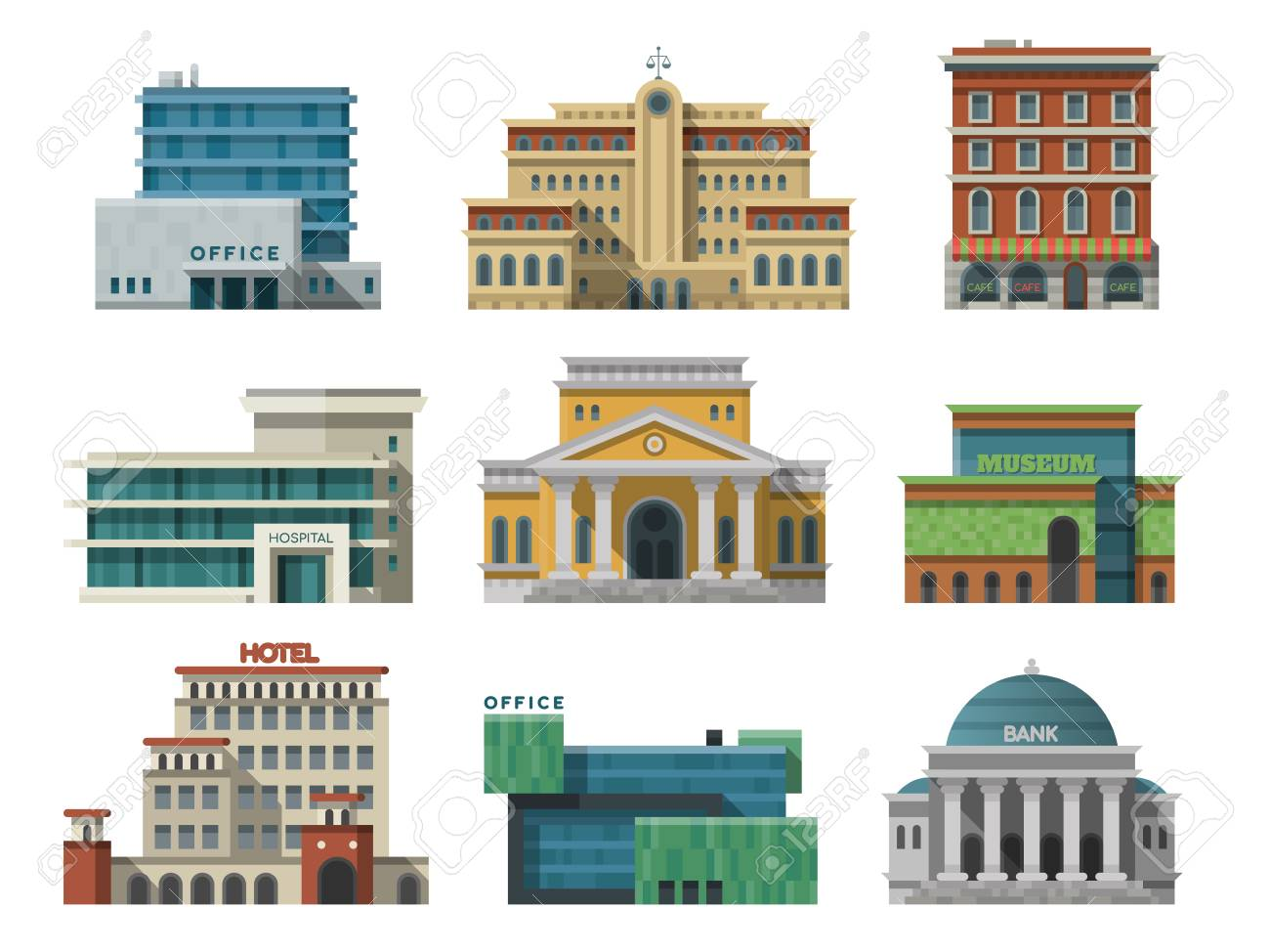Different City Public Buildings Houses Set Flat Design Office