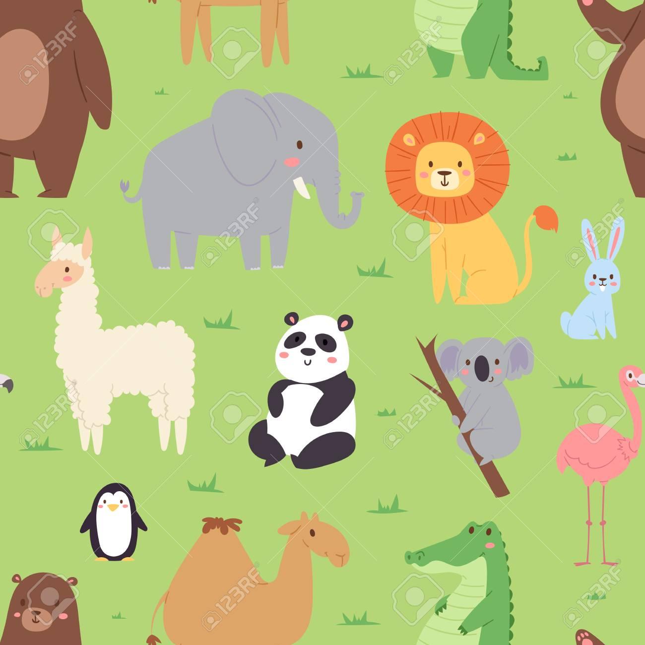 子供イラストの漫画動物野生動物壁紙動物園の野生の文字背景にシームレス