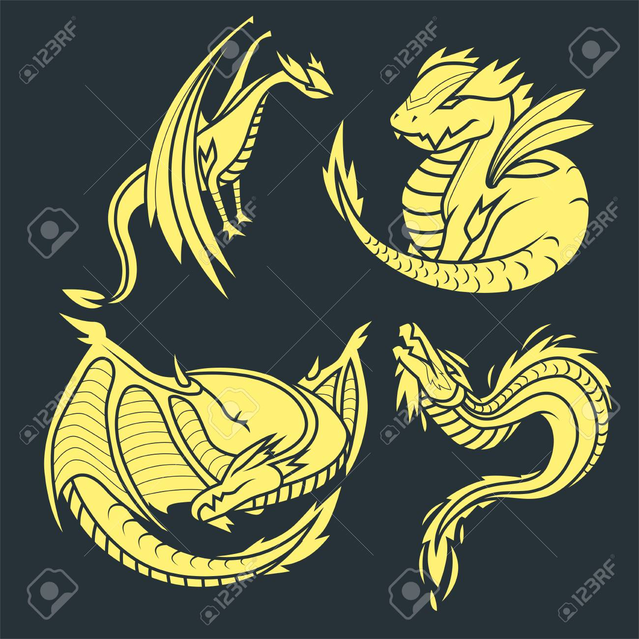 Chinese Dragon Silhouettes Tattoo Mythology Tail Monster Magic
