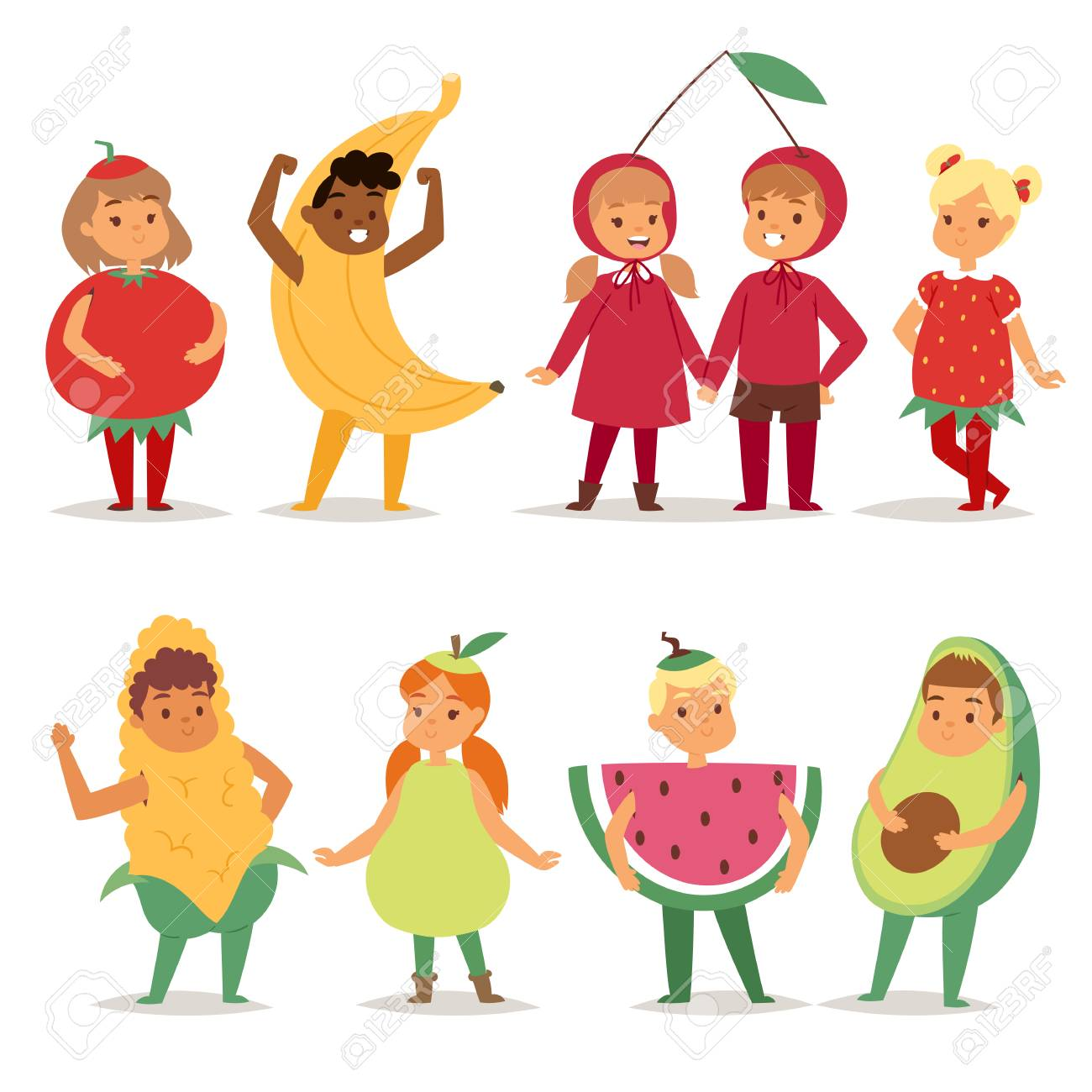 Cartoon Kids Fruits Festive Costume Boys And Girls Fancy Dress Childhood Party Characters Vector Illustration