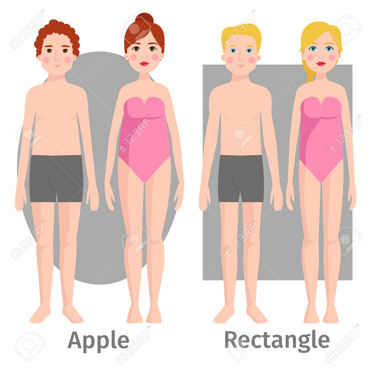 Vector illustration of different body shape types characters