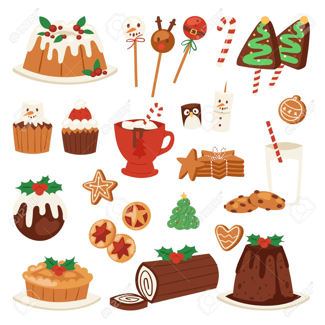Christmas Food Vector Desserts Holiday Decoration For Family