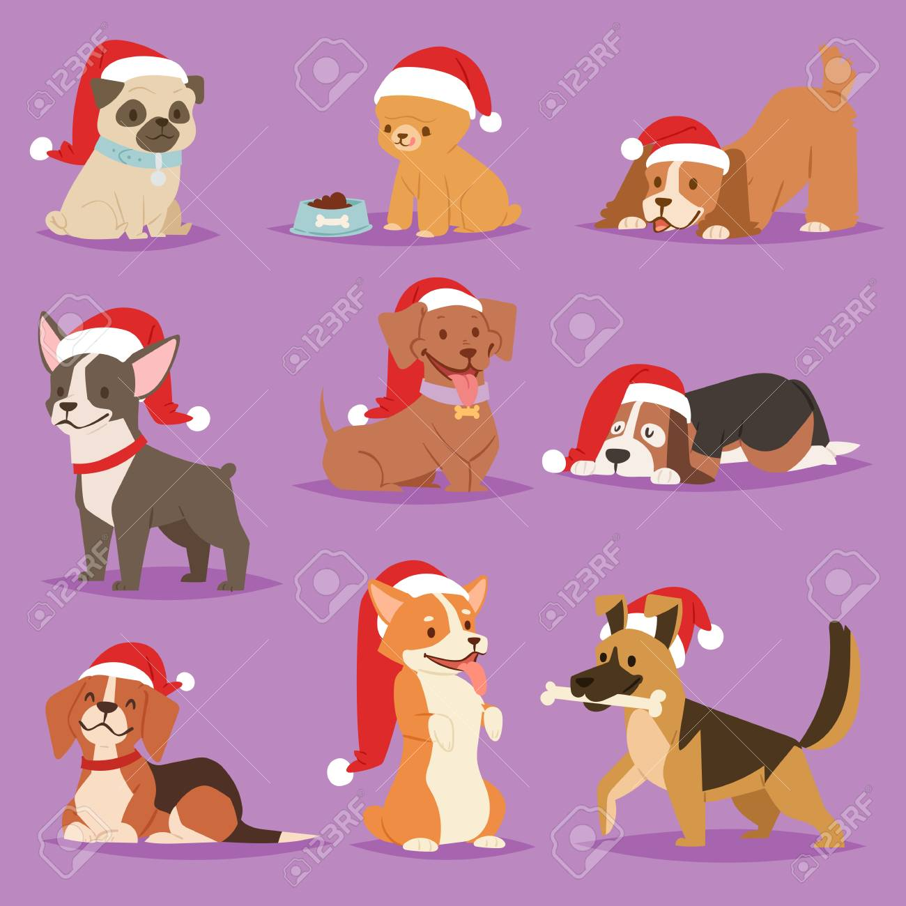 Christmas Dog Vector Cute Cartoon Puppy Characters Illustration Royalty Free Cliparts Vectors And Stock Illustration Image 89823903