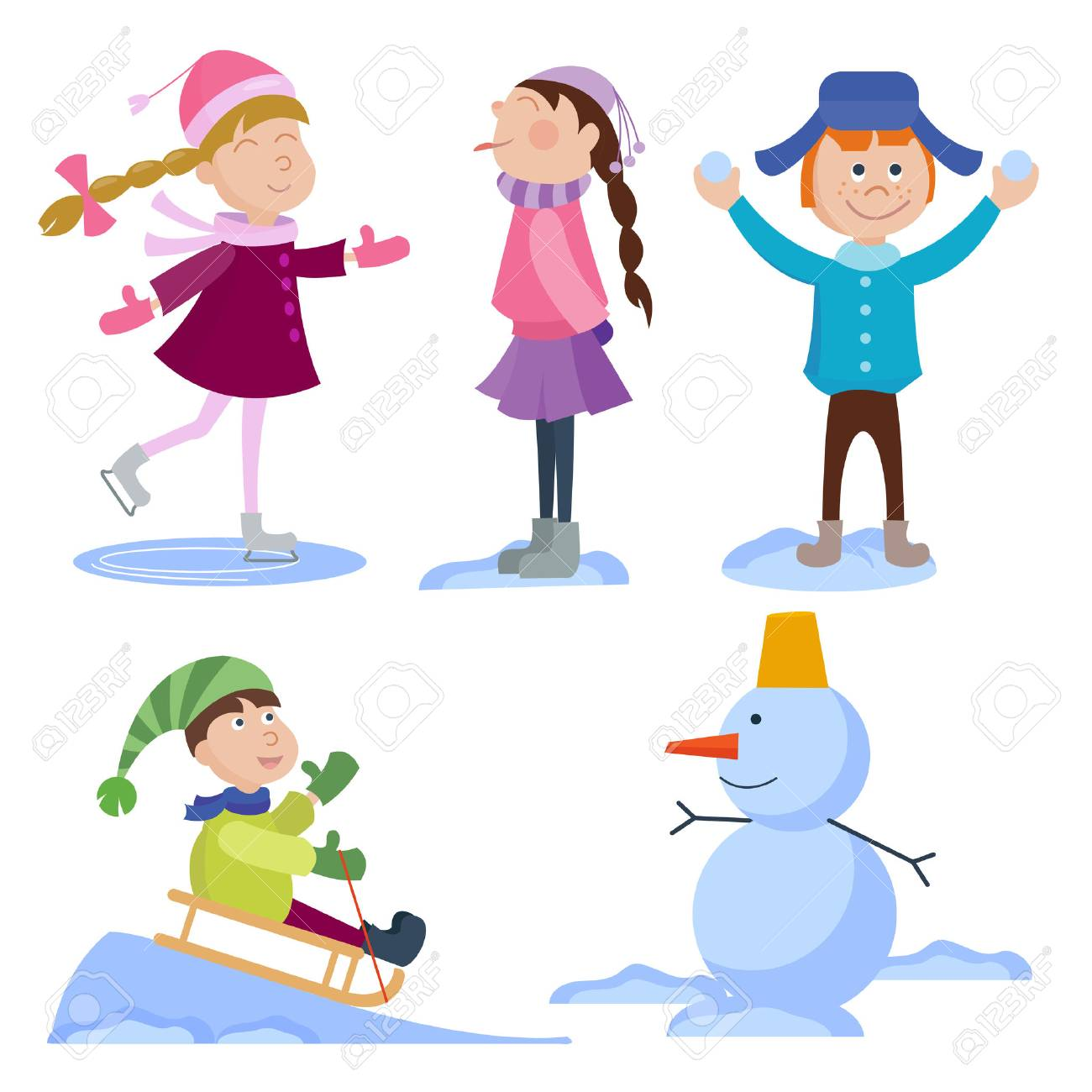 christmas kids playing winter games cartoon new year winter holiday rh 123rf com winter holiday clip art borders winter holiday clip art pictures