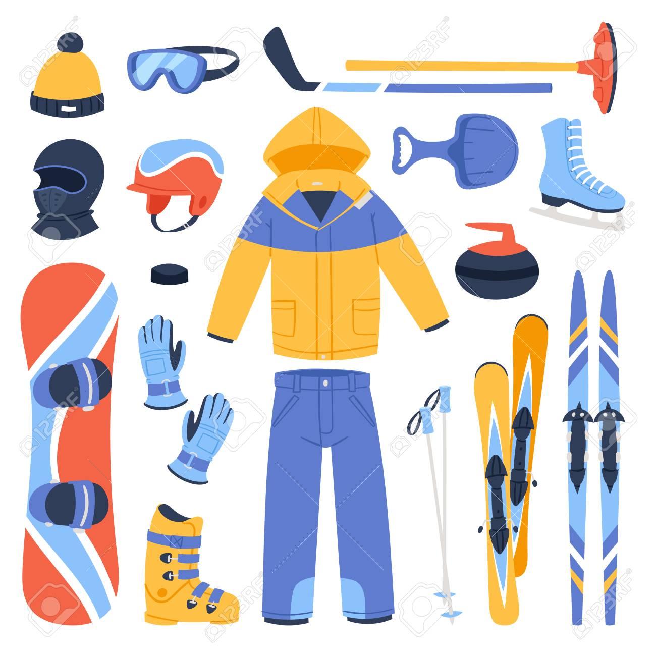 Invierno nieve esquí deportes ropa y accesorios iconos.