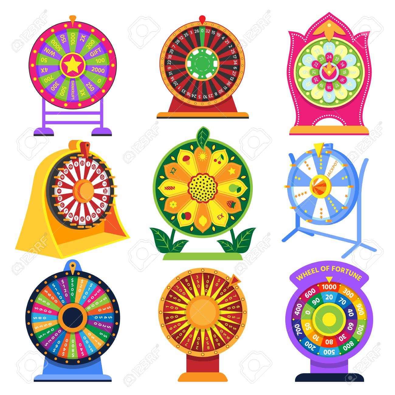 Fortune Wheel Vector Spin Game Icons Roulette Lucky Fortunate