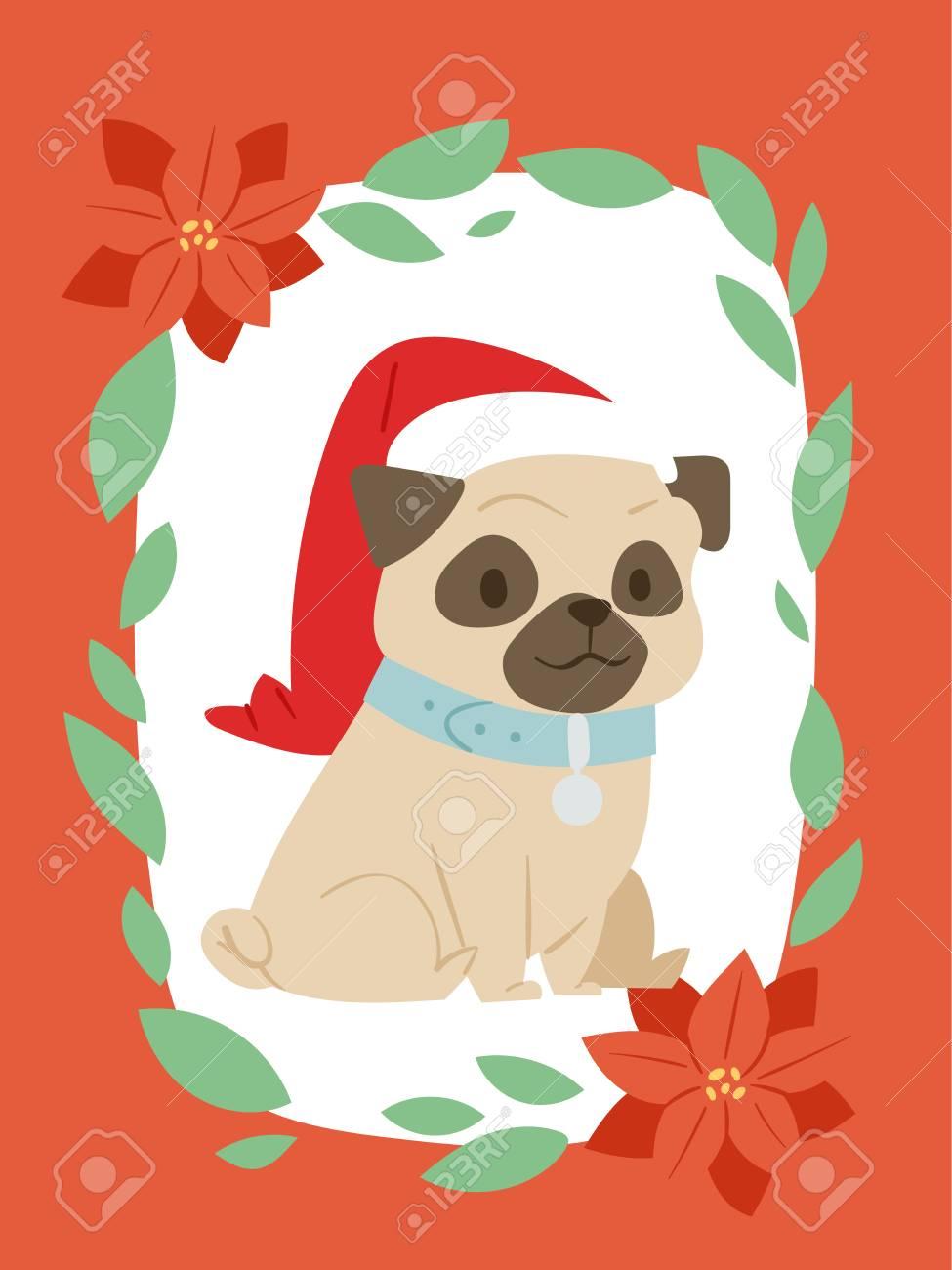 Noel 2018 Chien Carte Vecteur Dessin Anime Mignon Chiot Caracteres