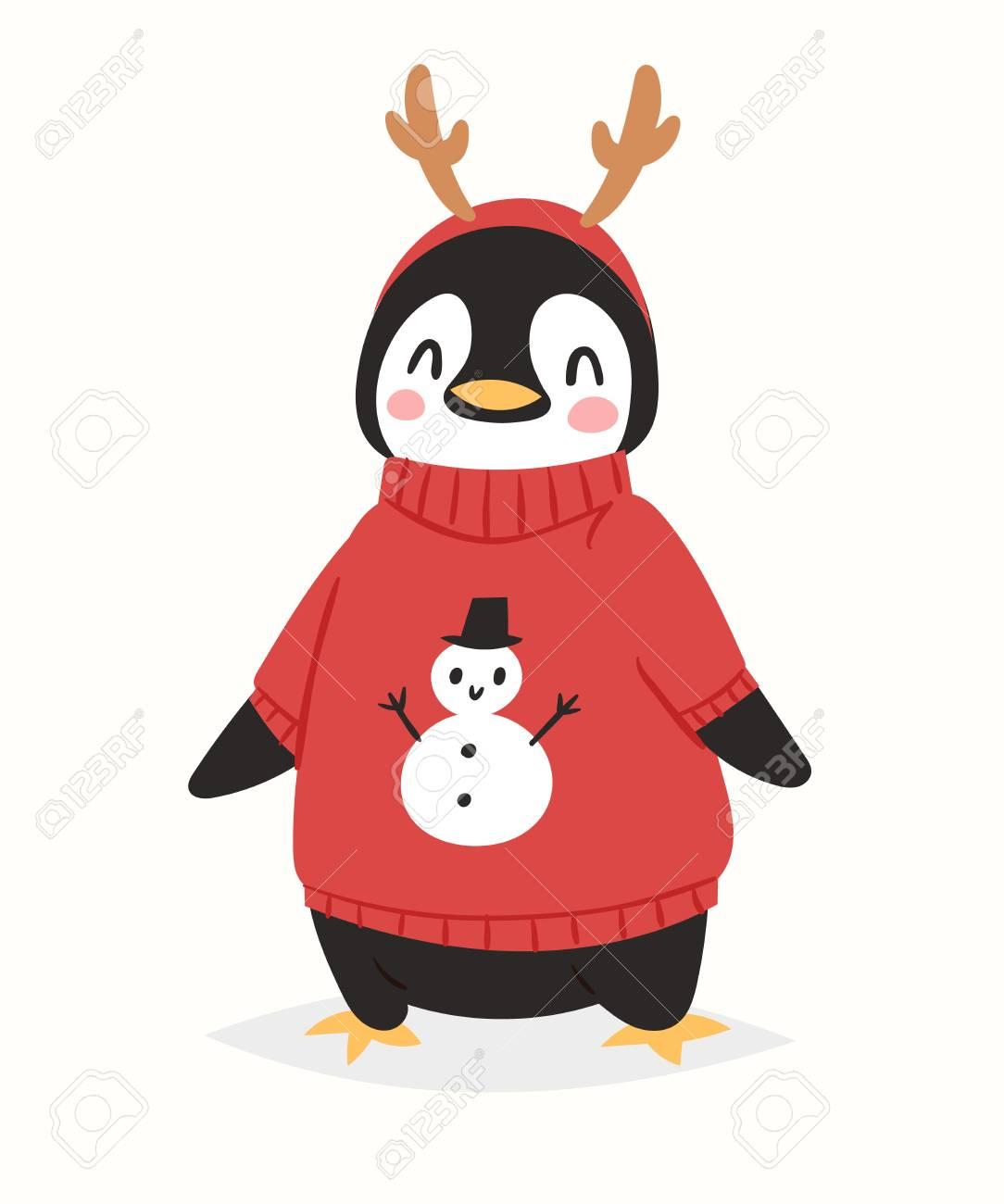 Pingüino De Navidad Vector Personaje De Dibujos Animados Lindo