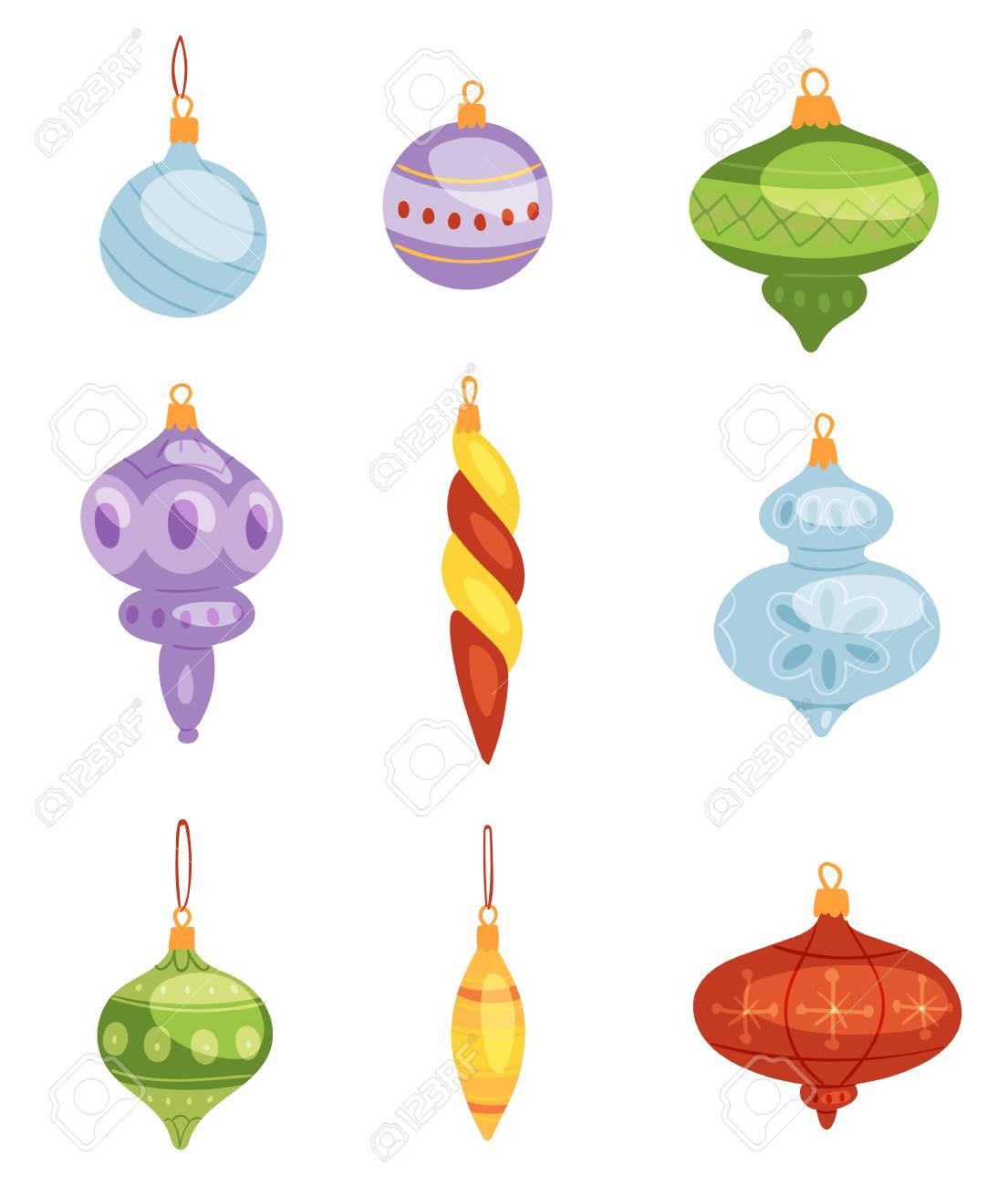 Los Juguetes Del rbol De Navidad Vector Decoraciones Bolas Crculo