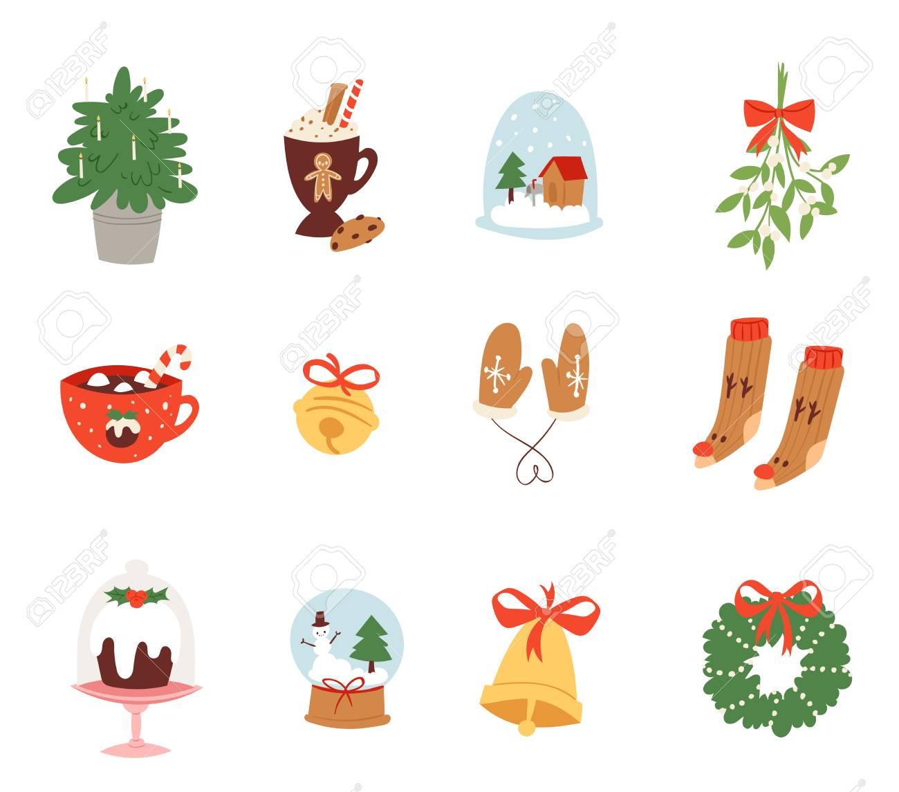Weihnachtsikonen-Symbolvektor Für Feierdekorationsillustration Des ...