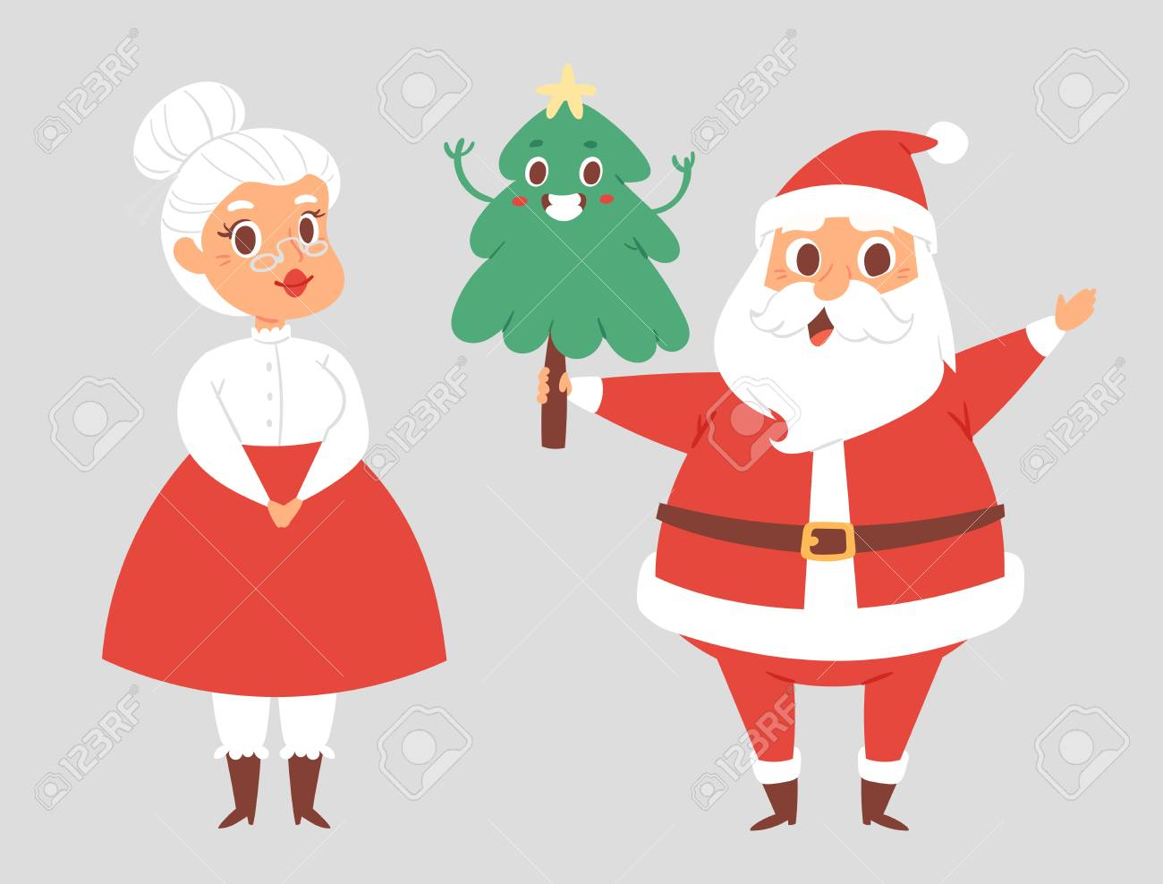 Christmas Santa Claus And Wife Vector Character Pose With Tree