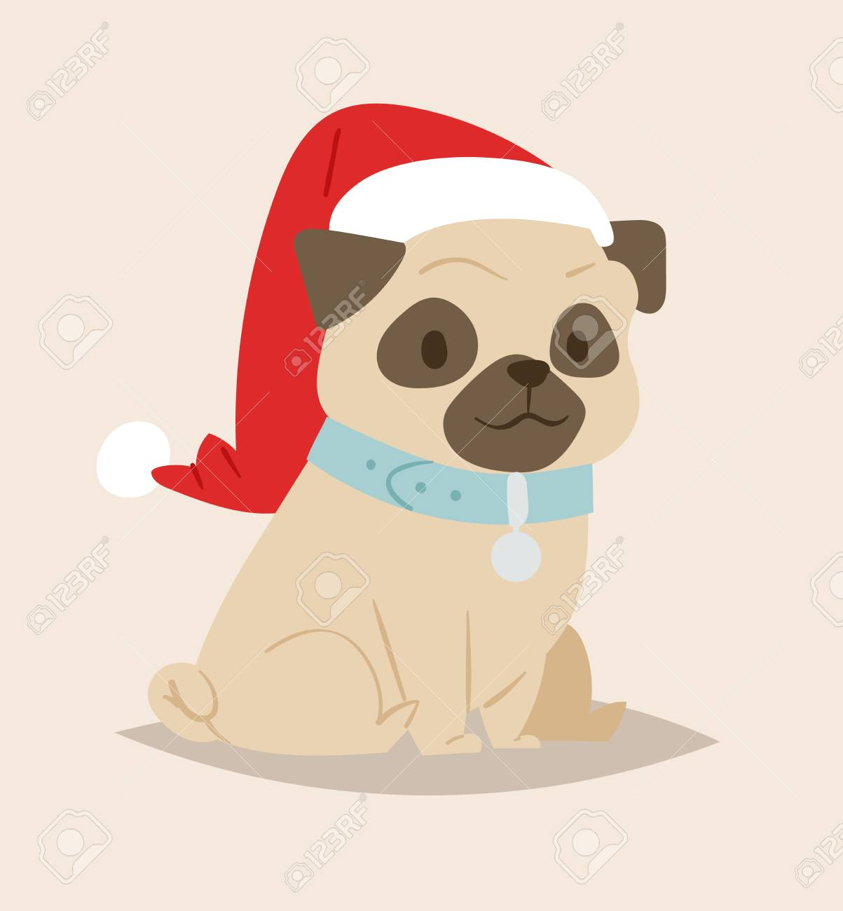 Christmas Dog Vector Cute Cartoon Puppy Characters Illustration