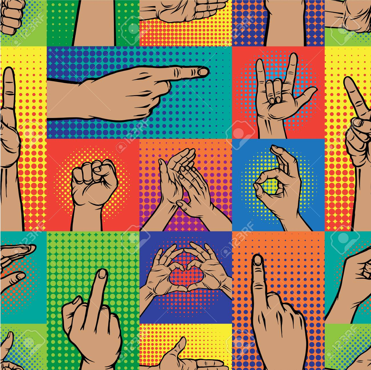 91655587-pop-art-hands-fingers-gesture-of-human-symbols-hands- Best Of Pop Art Hands @koolgadgetz.com.info