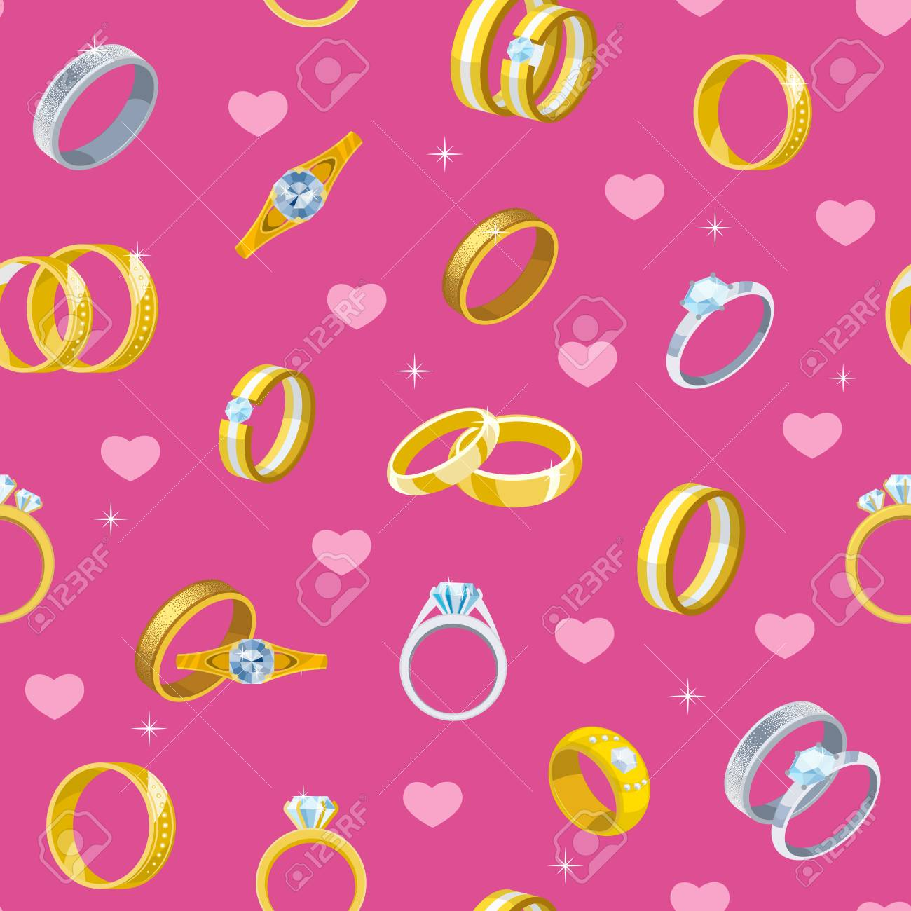 Wedding Rings Vector Engagement Symbol, Gold And Silver Jewelry ...