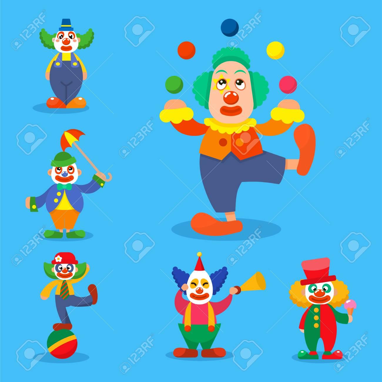 clown vector circus man characters performer carnival actor makeup