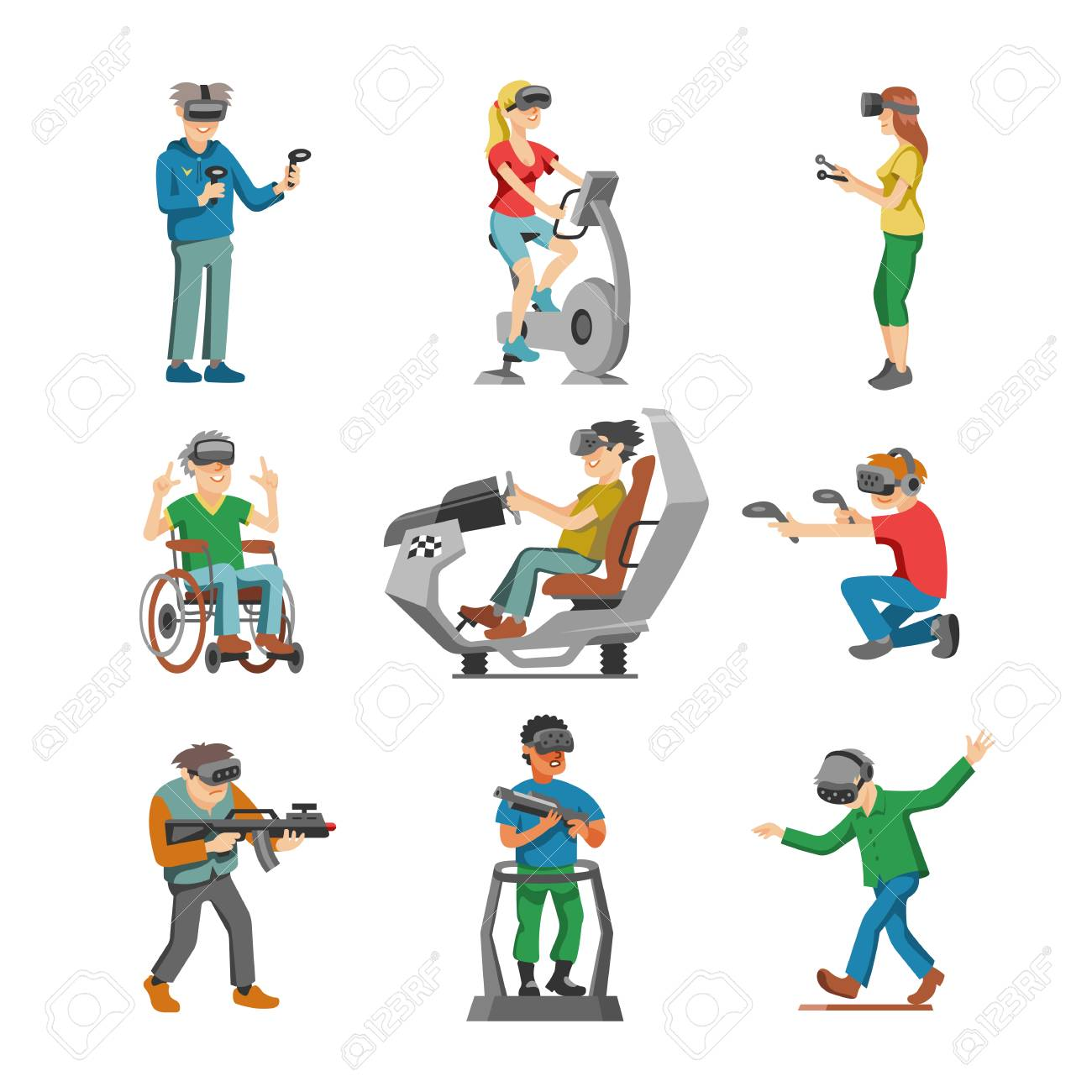 c8c78b2a116 Vector - Virtual reality vector character gamer with vr glasses and person  playing in virtuallization technology illustration set of people gaming in  ...