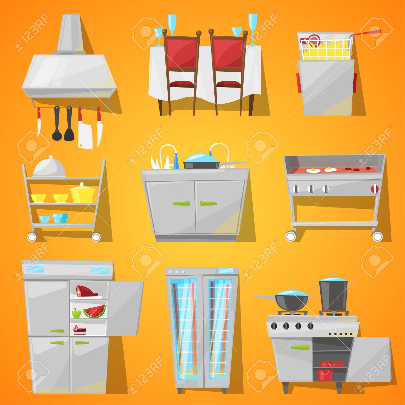 Restaurant Interior Vector Cafe Furniture And Kitchen Appliance Royalty Free Cliparts Vectors And Stock Illustration Image 96892575