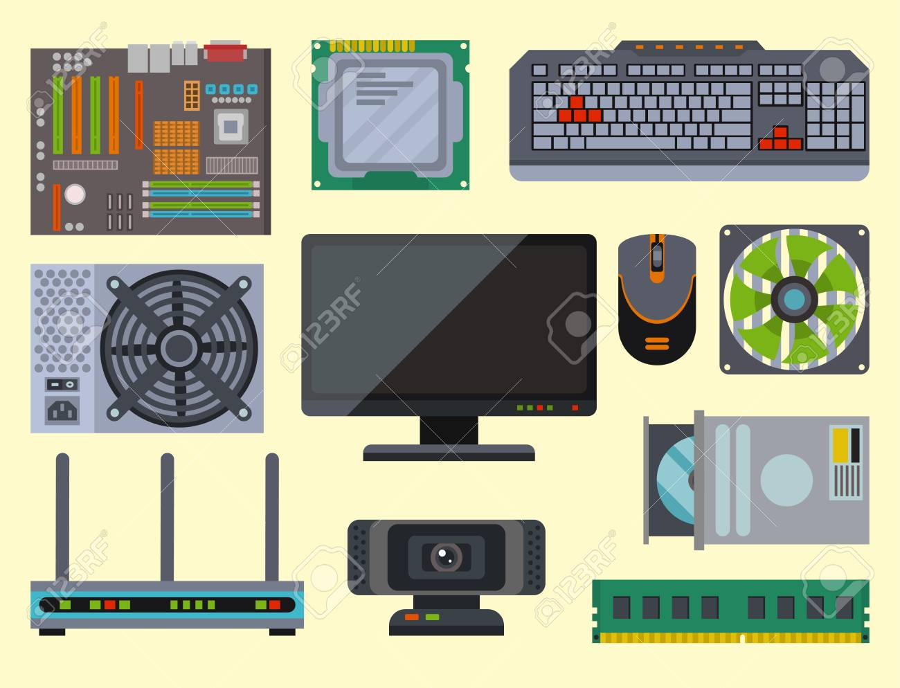 Computer Parts Network Component Accessories Various Electronics Royalty Free Cliparts Vectors And Stock Illustration Image 96892587