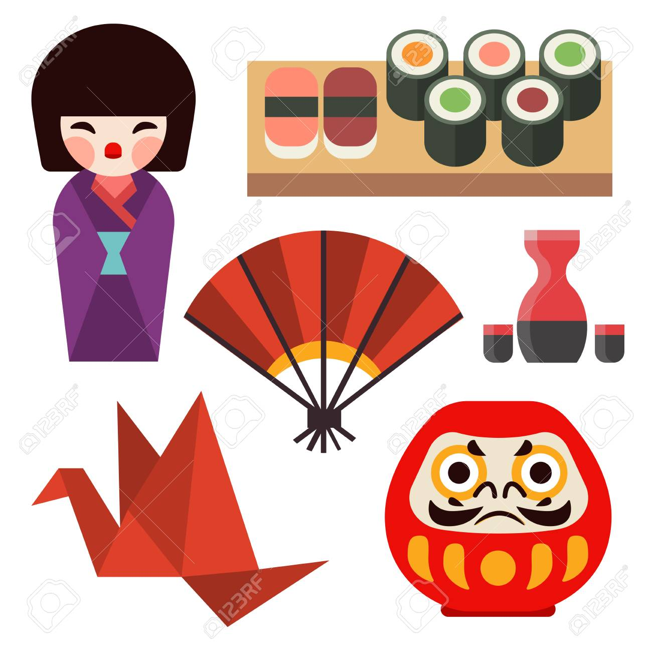 Vector Flat Colored Symbols Of Japan Travel And Asia Tourism ...
