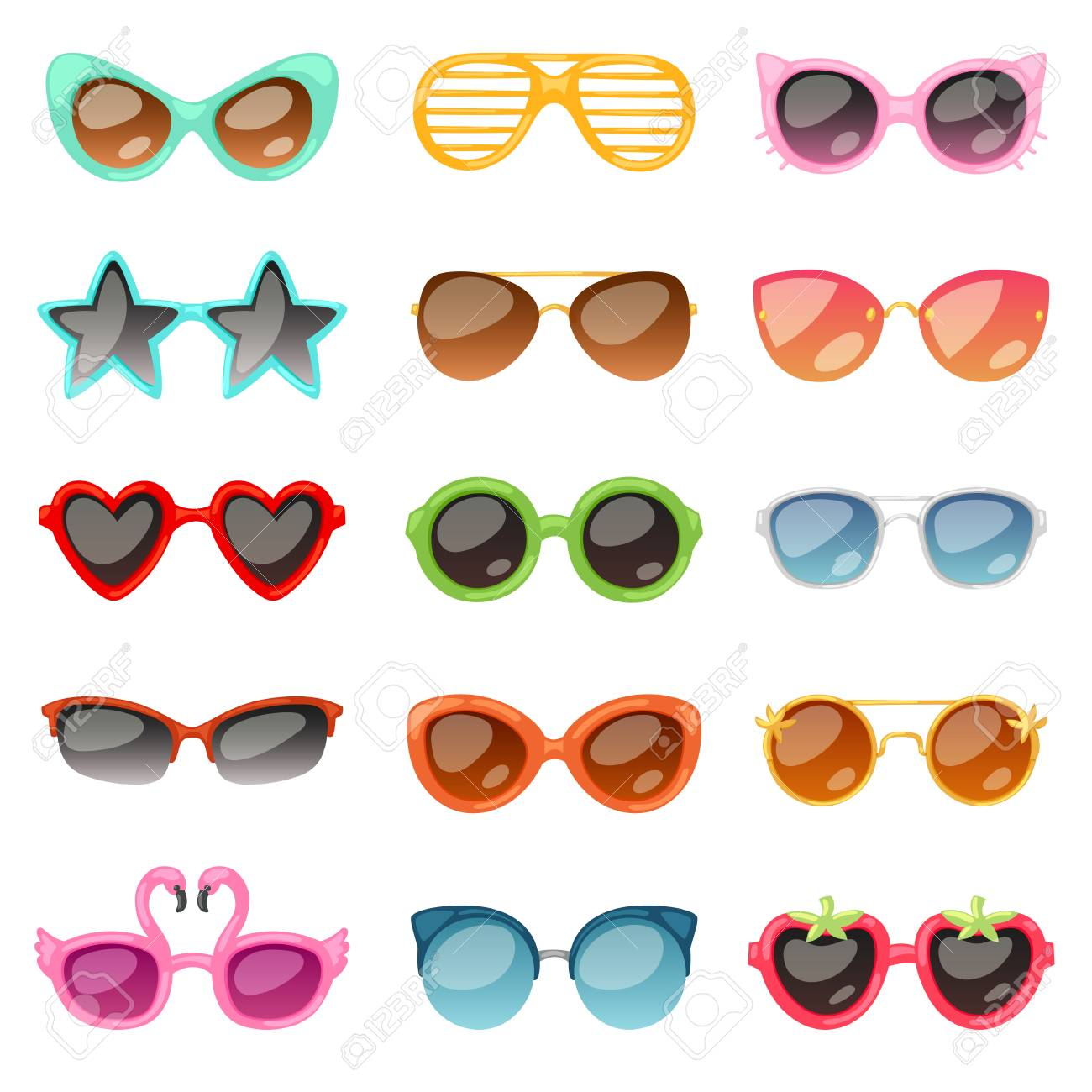 Glasses vector cartoon eyeglasses or sunglasses in stylish shapes for party and fashion optical spectacles set of eyesight view accessories illustration isolated on white background - 100126109