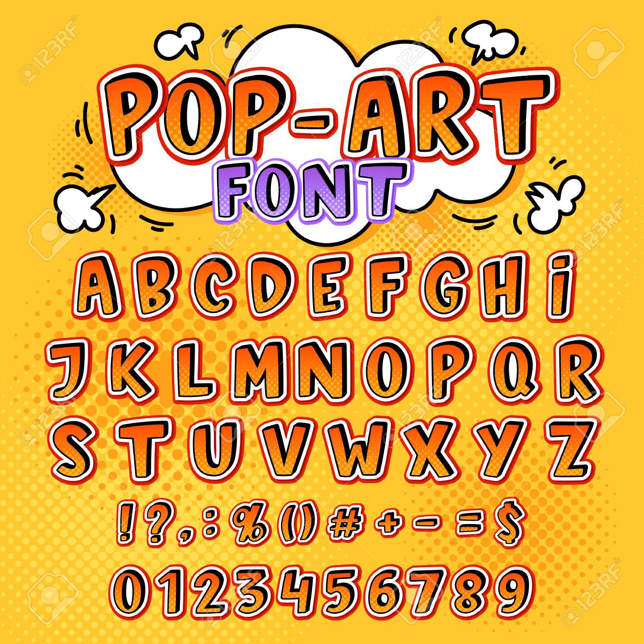 100126114-comic-font-vector-cartoon-alphabet-letters-in-pop-art-style-and-alphabetic-text-icons-for-typography Trends For Pop Art Letters @koolgadgetz.com.info