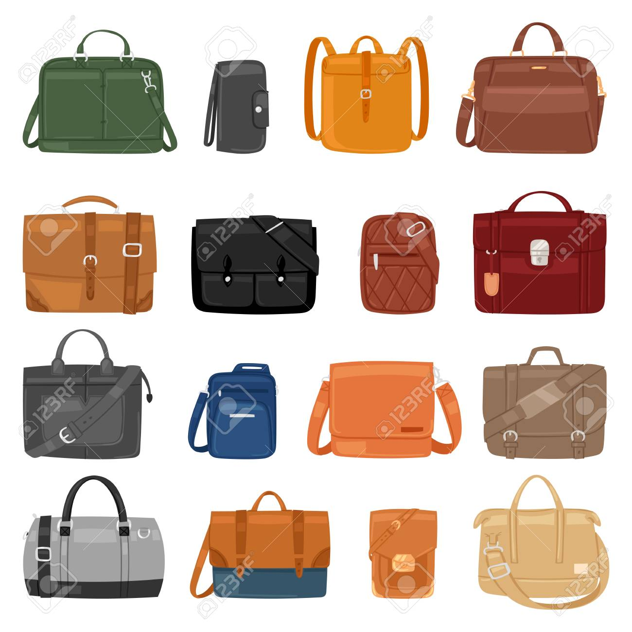 Man bag vector men fashion handbag or business briefcase and leather notecase of businessman illustration manlike bagged set of male baggy accessory bagpack isolated on white background - 101451629