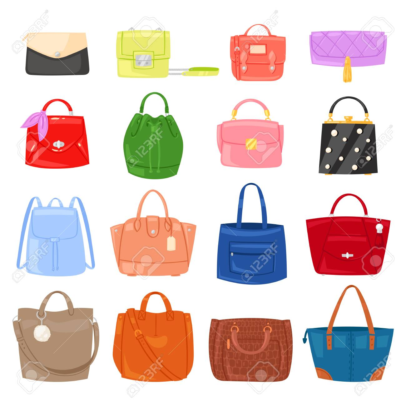 Illustration - Woman bag vector girls handbag or purse and shopping-bag or  clutch from fashion store illustration baggy set of shoppers bagged package  ... ad5fde99fe
