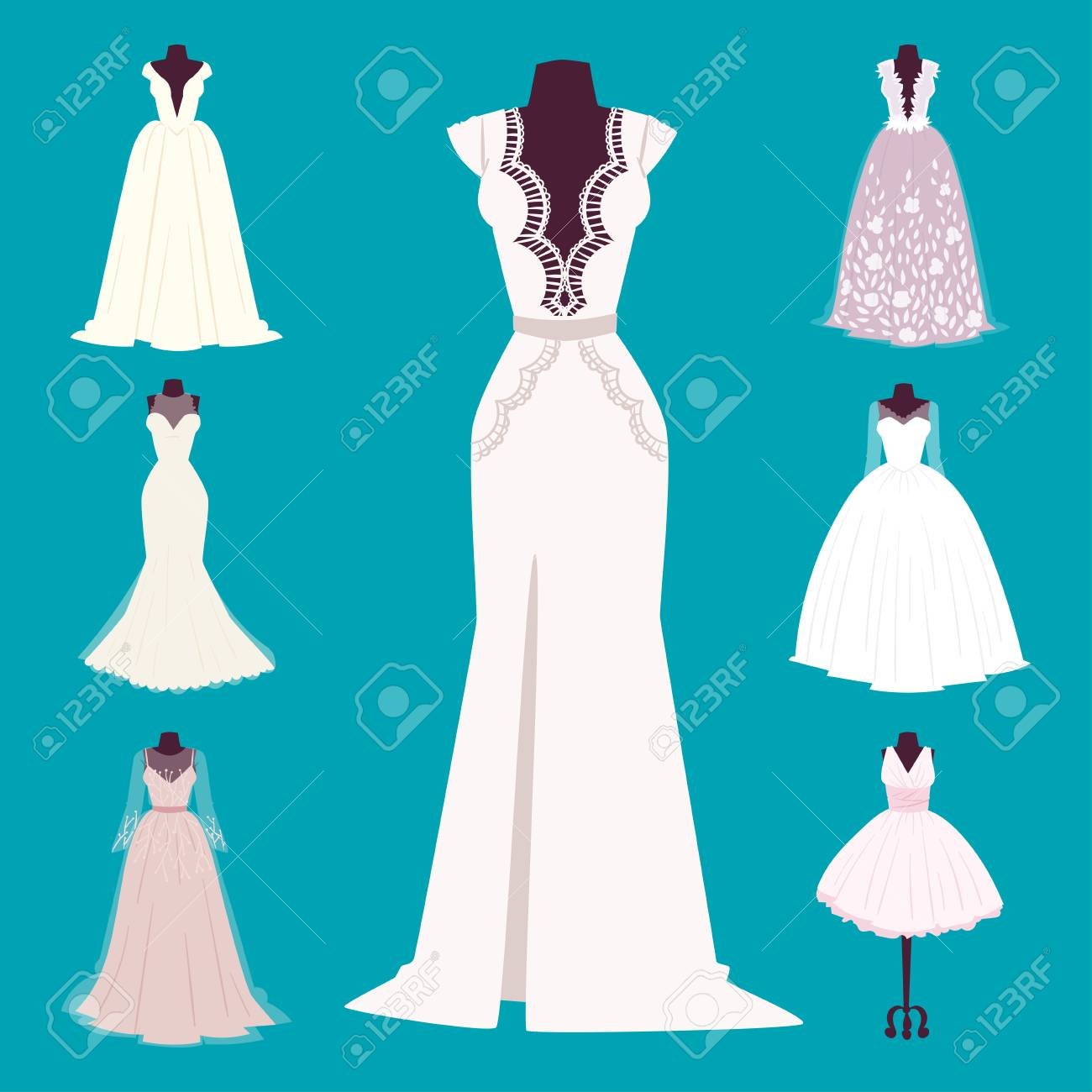 Wedding Bride Dress Elegance Style Celebration Bridal Shower Stock